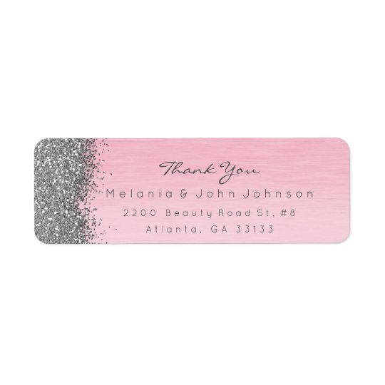 Silver Sparkly Glitter Pink Rose Pastel Return Address