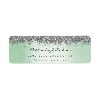 Silver Sparkly Glitter Silver Mint Green Metallic