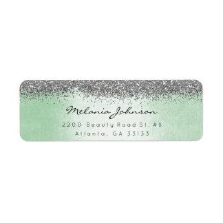 Silver Sparkly Glitter Silver Mint Green Metallic Return Address Label