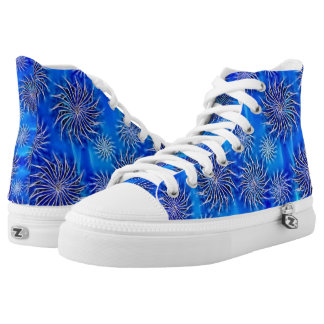 Silver Spinning stars energetic pattern sea blue Printed Shoes