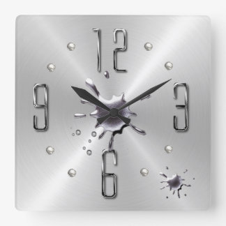 silver splat wall clock