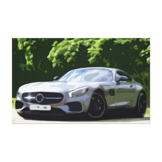 Silver Sports Car with a Forest Background Canvas