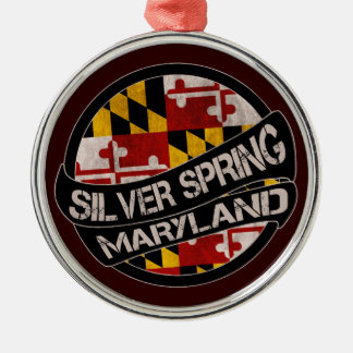 Silver Spring Maryland flag grunge round ornament
