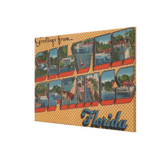 Silver Springs, Florida - Large Letter Scenes Stretched Canvas Print