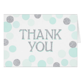 Silver Sprinkles Scatter Seafoam Dots Thank You Card