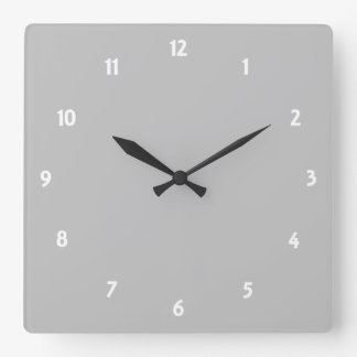 Silver Square Wall Clock