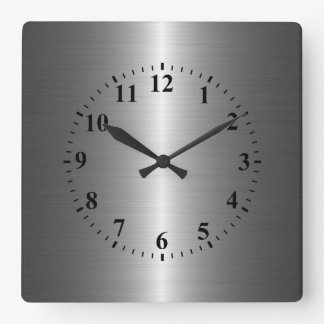 Silver Stainless Steel Metal Square Wall Clock