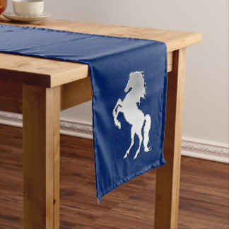 Silver Stallion on Navy Blue Medium Table Runner