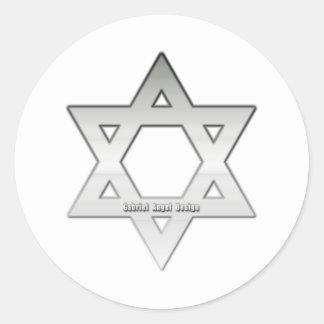 Silver Star of David Classic Round Sticker