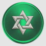 Silver Star of David Envelope Seal Round Stickers