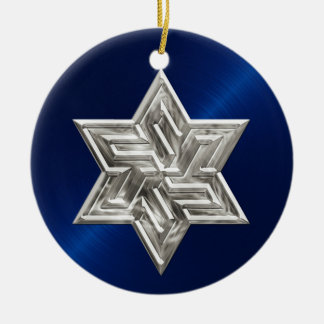 Silver Star of David Hanukkah Ornament