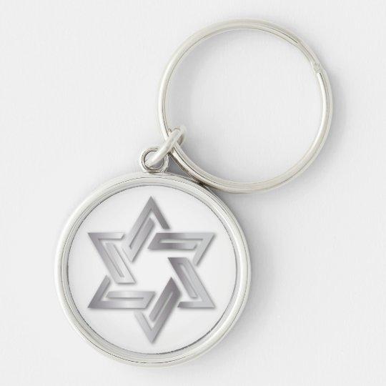 Silver Star of David Keychain