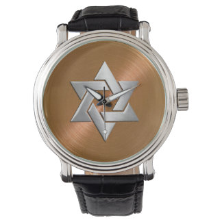 Silver Star of David on Copper Watch