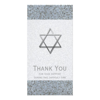 Silver Star of David Stone 1 Sympathy Thank You Photo Greeting Card