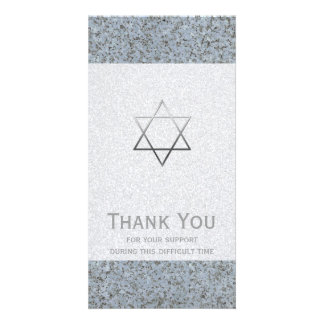 Silver Star of David Stone 2 Sympathy Thank You Photo Cards