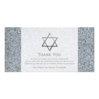 Silver Star of David Stone 3 Sympathy Thank You Picture Card