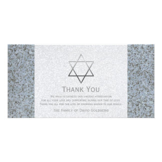 Silver Star of David Stone 4 Sympathy Thank You Customized Photo Card
