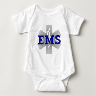 Silver Star of Life with Blue EMS Baby Bodysuit