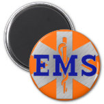 Silver Star of Life with Blue EMS 6 Cm Round Magnet