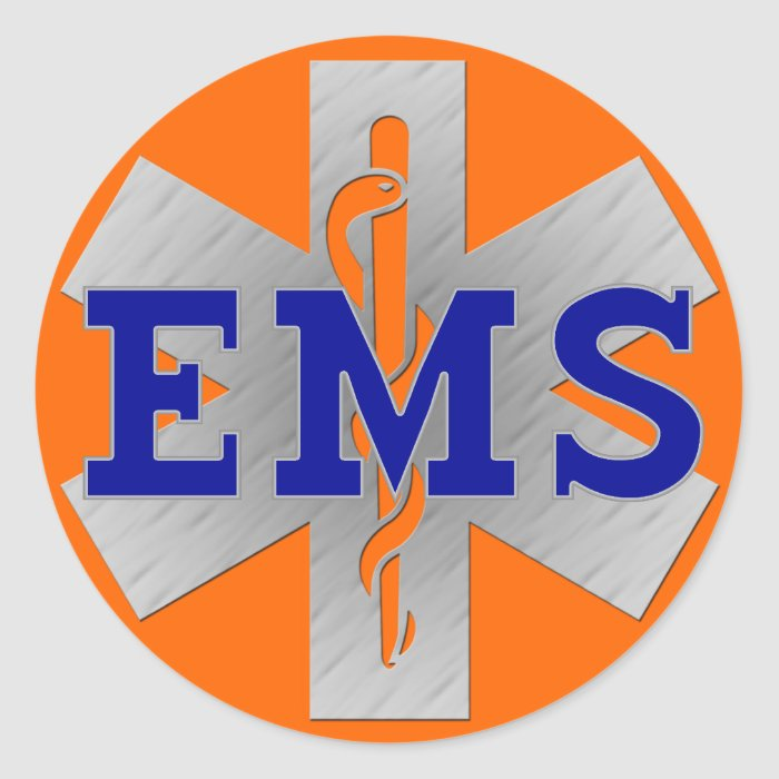 Silver Star of Life with Blue EMS Round Sticker