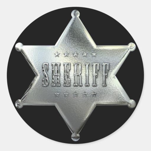 Silver Star Sheriff Badge Round Sticker | Zazzle