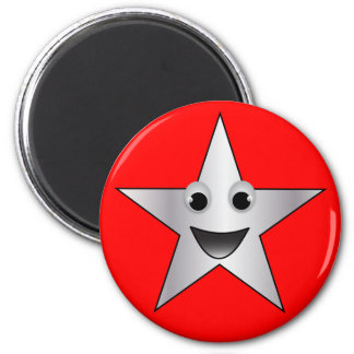 Silver Star with Smiling Face 6 Cm Round Magnet
