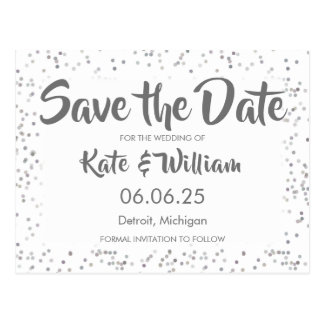 Silver Stardust Confetti Save the Date Postcard