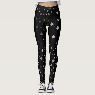 Silver Stars Black Leggings Witch Halloween