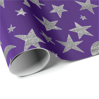 Silver Stars Moon Sky Metallic Purple Amethyst Wrapping Paper
