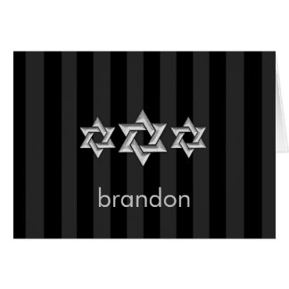 Silver Stars of David on Any Color Bar Mitzvah Note Card