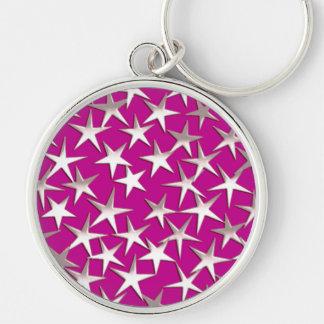 Silver stars on amethyst purple key chain