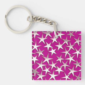 Silver stars on amethyst purple square acrylic keychains