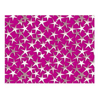 Silver stars on amethyst purple post card