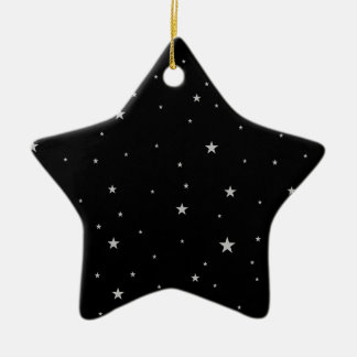 Silver Stars On Black Christmas Ornament