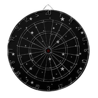 Silver Stars On Black Dart Board