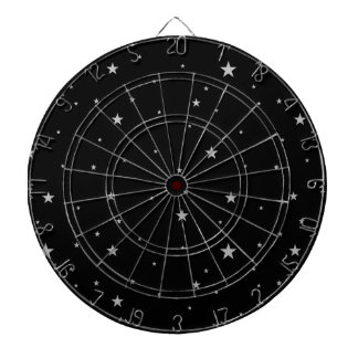 Silver Stars On Black Dartboard