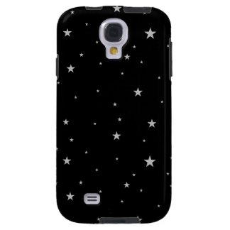 Silver Stars On Black Galaxy S4 Case