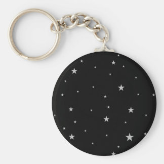 Silver Stars On Black Key Ring