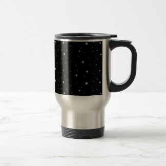 Silver Stars On Black Travel Mug
