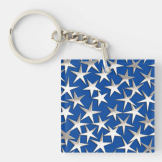 Silver stars on cobalt blue square acrylic key chains