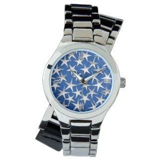 Silver stars on cobalt blue watch