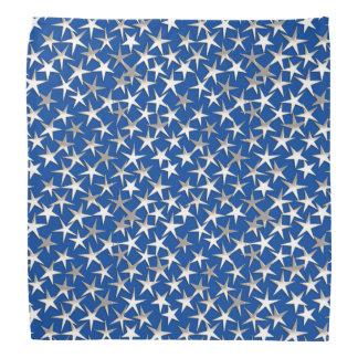 Silver stars on cobalt blue bandana