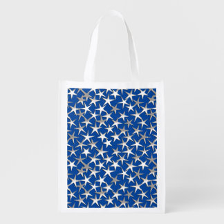 Silver stars on cobalt blue reusable grocery bags