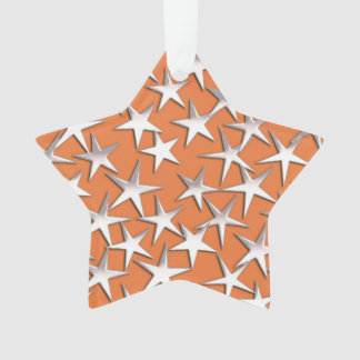 Silver stars on copper ornament