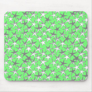 Silver stars, on lime green mouse pad
