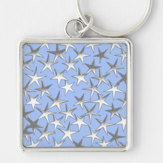 Silver stars, on pale blue keychains