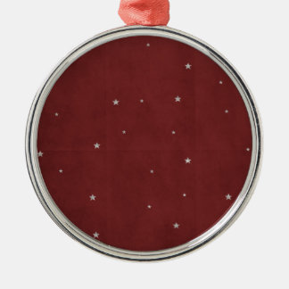 Silver Stars on Red Background Christmas Ornament