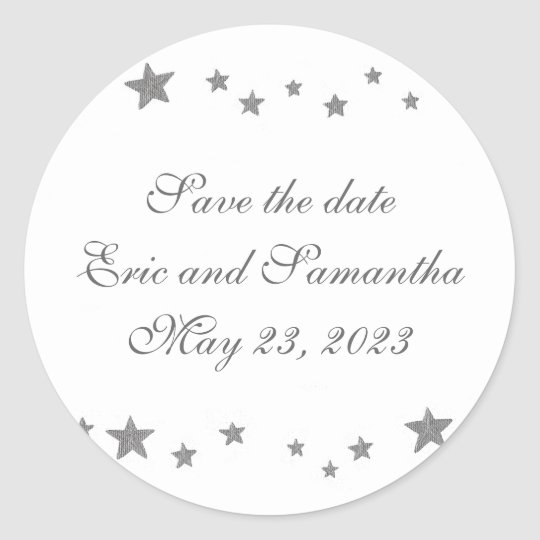 Silver Stars, Save the date stickers, weddings Round