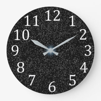 Silver Stars Speckles on Black White Numbers Clock