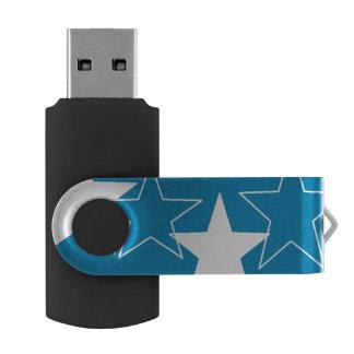 silver stars USB Flash Drive Swivel USB 3.0 Flash Drive